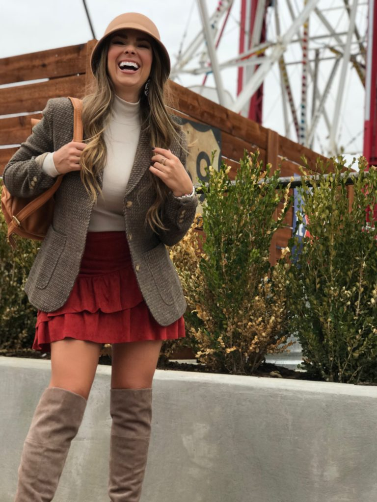fall fashion suede skirt