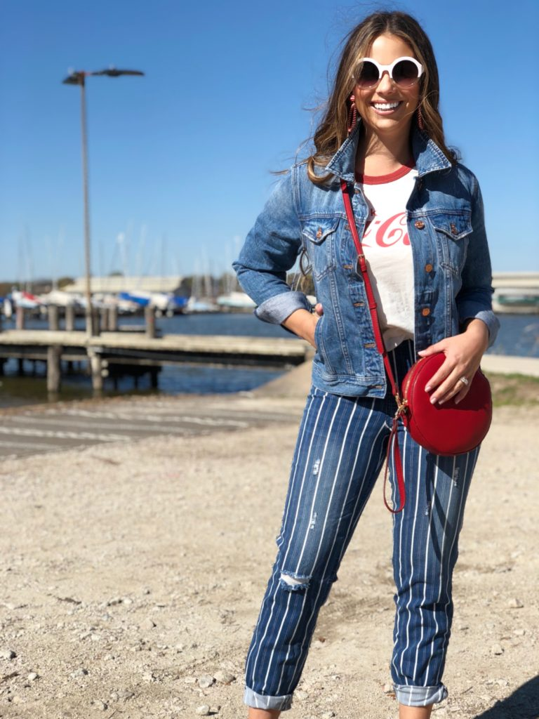 weekend wear, casual weekend wear, casual fashion, casual style, weekend style, weekend fashion, denim on denim, pops of red, red bag, white round sunglasses, style, fashion, dallas style blogger, dallas fashion  blogger, best dallas blogger, best dallas fashion blogger, best lifestyle blogger, spring fashion, spring style, meghan jones, the meghan jones